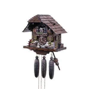 Cuckoo Clock Black Forest house with 2 moving wood choppers and mill