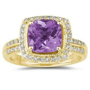 Cushion Cut Amethyst & Diamond Ring in 14K Yellow Gold SZUL Jewelry