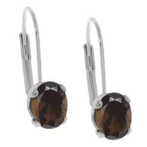 Shape Brown Smoky Quartz Silver Plated Brass Stud Earrings Jewelry