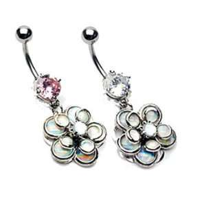 Jeweled navel ring with dangling miracle bead flower