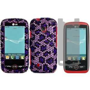 Purple Leopard Full Diamond Bling Case Cover+LCD Screen