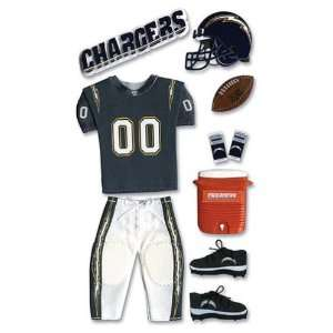 NFL TEAM UNIFORM 3 D Stickers SAN DIEGO CHARGERS   DISCONTINUED