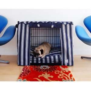 Nautical Navy Blue Stripe Dog Crate Cover   Medium 30L x