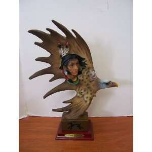 Native American Indian and Eagle Dream Catcher Statue