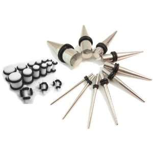 10 Pc 316L Stainless Steel Ear Stretching Taper Kit 16g 00g Gauges