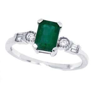 1.01Ct Emerald Cut Genuine Emeraldand Diamond Ring in 14Kt