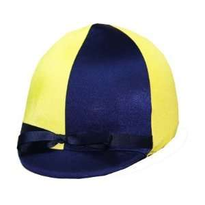 Equestrian Riding Helmet Cover   Navy Blue and Yellow