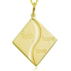 Sterling Silver Faith Hope Love Diamond Shape Pendant, 18 Jewelry