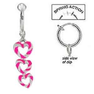 Fake Belly Navel Non Clip on 3 Hot Pink and Swirl Swirl Hearts dangle