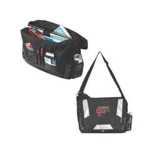 Atchison Drop Zone   Black messenger bag with a front flap