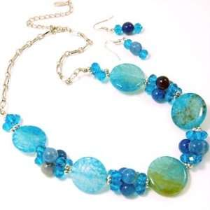 Natural Stones in Greens and Blues and Crystal Clusters Necklace and