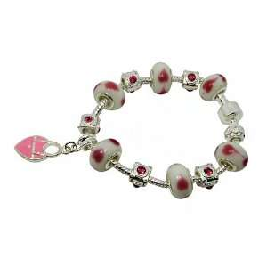 Pink Murano Glass Beads Charms Bracelet Jewelry
