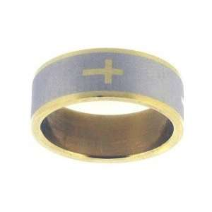 Ring Stainless Gold Cross On Gray Style 325   Stainless