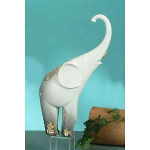 Gray Elephant W/ Gold Tusks Statue Figurine