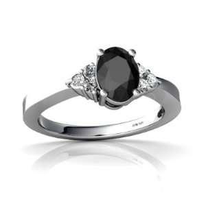 14K White Gold Oval Genuine Black Onyx Ring Size 8 Jewelry