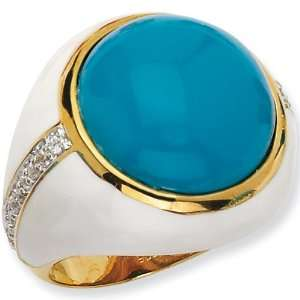 Size 6   Gold Plated Turquoise Cubic Zirconia Enamel Ring
