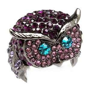 Owl Animal 3D Crystal Rhinestone Stretch Ring Purple Jewelry