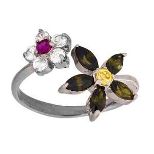 Multicolor Cubic Zirconia Flowers 14K White Gold Toe Ring Jewelry