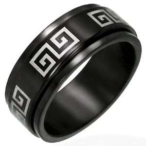 Black Stainless Steel Greek Design Spinner Ring 15: Jewelry