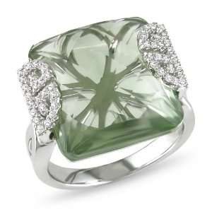 14k White Gold Green Amethyst and Diamond Ring (.2 cttw, G H Color, SI