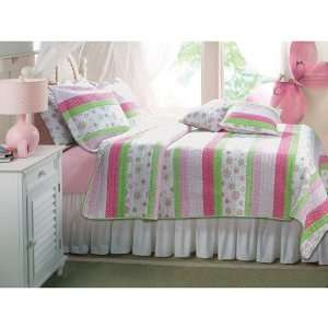 3pc Girl Green Pink Flower Stripe Full Queen Quilt Set