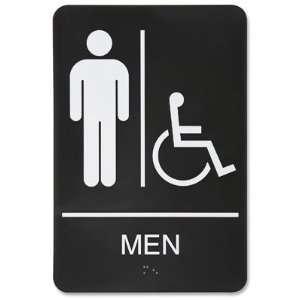 Mens Handicap Restroom Plastic Sign   Black Office