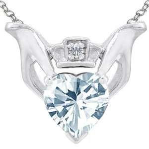 Gold Genuine Heart Shaped Aquamarine and Diamond Claddagh Love Pendant