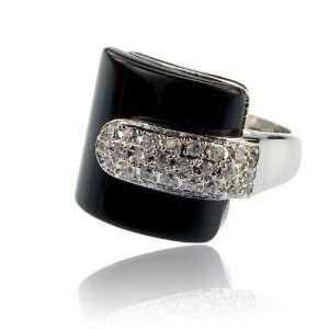 Inspired Black Onyx Crystal Fashion Jewelry Ring Size 8 Jewelry