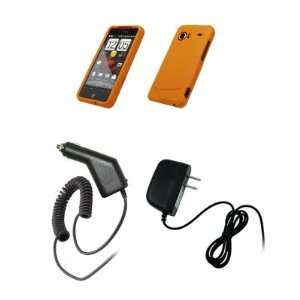 HTC Droid Incredible   Premium Orange Rubberized Snap On Cover