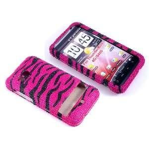 Case Pink Zebra Bling Rhinestone Crystal Jeweled Snap on Full Cover