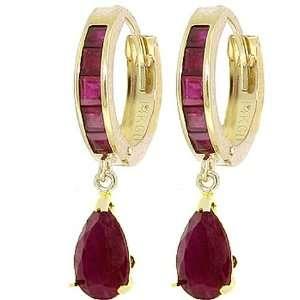 14k Gold Hoop Huggie Earrings with Genuine Rubies Jewelry