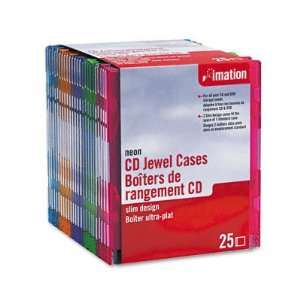 CD/DVD Slim Line Jewel Case, Neon, 25/Pack   IMN41085 Electronics