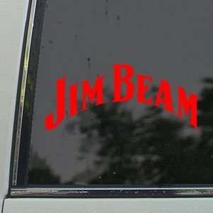Jim Beam Red Decal Vintage Car Truck Bumper Window Red