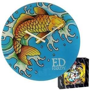 License Don Ed Hardy Gold Koi Fish Glass Clock Home & Kitchen