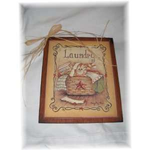 Kitty Cat in a Laundry Basket Country Wooden Wall Art Sign