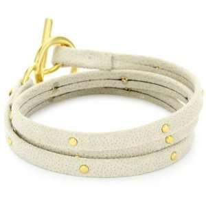 gorjana Graham Beige Satin Leather Studded Wrap Bracelet Jewelry