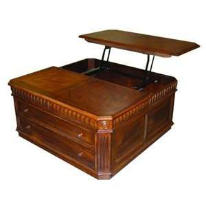 Cherry Lift Top Square Coffee Table With Ottoman