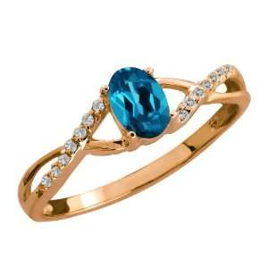 Ct Genuine Oval London Blue Topaz Gemstone 14k Rose Gold Ring Jewelry