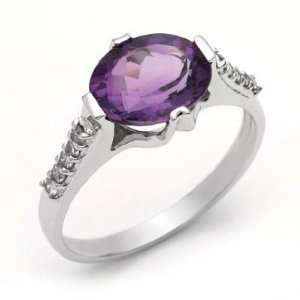 18k White Gold Oval Amethyst and Diamond Ring Size 7 Jewelry