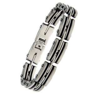 Mens Multi Layer Industrial Stainless Steel Rubber Bracelet