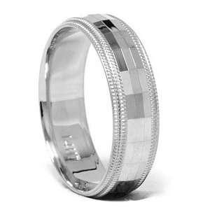 Mens 6mm Diamond Cut Comfort Fit Wedding Band Ring
