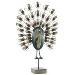 Hand Painted Imperial Peacock Metal Sculpture