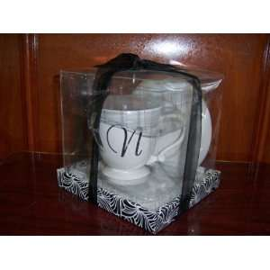 Plate Gift Set with Initial N Great for Gift Microwave and
