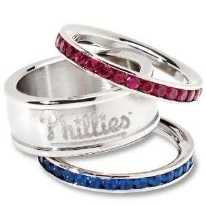 MLB Philadelphia Phillies Logo Crystal Stacked Ring Set