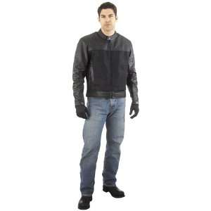 River Road Pecos Leather and Mesh Motorcycle Jacket   44 Automotive