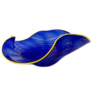 Murano Art glass Vase Plate Blue yellow brim A81 Home