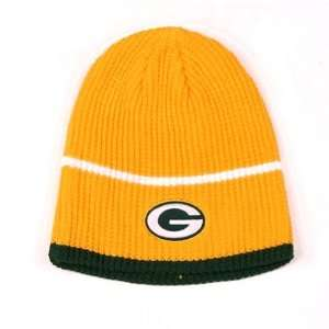 GREEN BAY PACKERS NFL Yellow Ribbed Cuffless Stripes Knit Beanie Hat