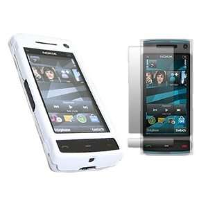 WHITE HYBRID Hard Case/Cover/Skin & LCD Screen Protector for Nokia X6