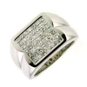 3.10 ct White Gold Diamond Princess Cut Mens Ring 14K Jewelry