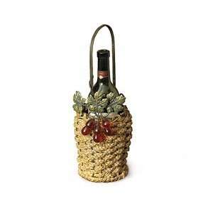 Old Sonoma Wine Bottle Holder Grapes Leaves Jute Rope Metal Picnic